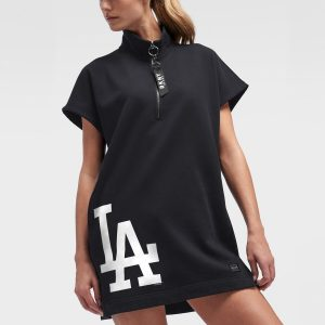 Los Angeles Dodgers DKNY Sport Women's The Donna Half-Zip Dress – Black