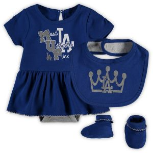Los Angeles Dodgers Girls Newborn & Infant Royal Diamond Bodysuit, Bib & Booties Set