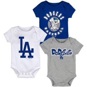 Los Angeles Dodgers Newborn & Infant Royal/White/Gray Everyday Fan Three-Pack Bodysuit Set