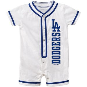 Los Angeles Dodgers Newborn White Game Ready Coverall Romper
