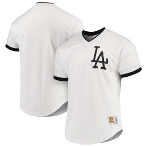 Men's Los Angeles Dodgers Mitchell & Ness White/Black Mesh V-Neck Jersey