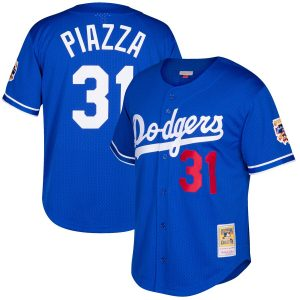 Mike Piazza Los Angeles Dodgers Mitchell & Ness Cooperstown Collection Mesh Batting Practice Jersey – Royal