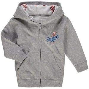 Soft as a Grape Los Angeles Dodgers Toddler Heathered Gray Baseball Print Full-Zip Hoodie