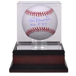 Tommy Lasorda Autographed Baseball with Inscription and Mahogany Display Case