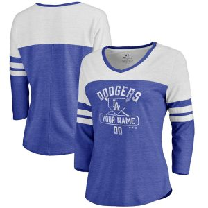Los Angeles Dodgers Fanatics Branded Women's Personalized Base Runner Tri-Blend Three-Quarter Sleeve T-Shirt – Royal
