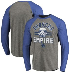 Los Angeles Dodgers Fanatics Branded MLB Star Wars Empire Raglan Long Sleeve T-Shirt – Heather Gray