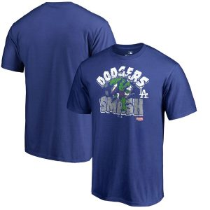 Los Angeles Dodgers Fanatics Branded Marvel Hulk Smash T-Shirt – Royal