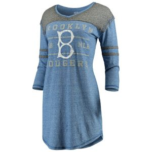 Brooklyn Dodgers Concepts Sport Women's Cooperstown Collection Squad Raglan 3/4-Sleeve Nightshirt – Royal/Charcoal