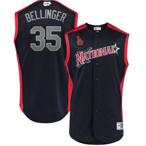 Cody Bellinger National League Majestic 2019 MLB All-Star Game Workout Player Jersey – Navy
