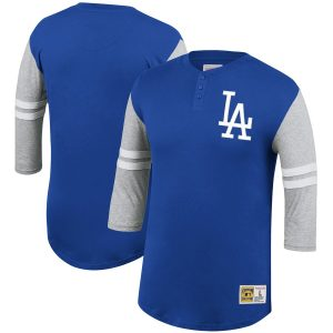 Los Angeles Dodgers Mitchell & Ness 3/4-Sleeve Henley T-Shirt – Royal