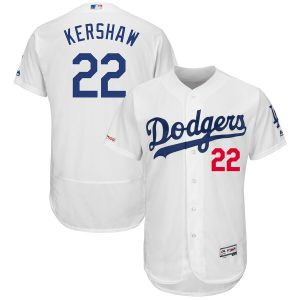 Clayton Kershaw Los Angeles Dodgers Majestic Home Flex Base Authentic Collection Player Jersey – White