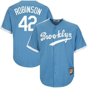 Jackie Robinson Brooklyn Dodgers Majestic Big & Tall Cooperstown Collection Cool Base Replica Player Jersey – Light Blue