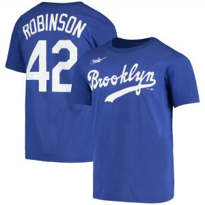 Jackie Robinson Los Angeles Dodgers Nike Youth Cooperstown Collection Player Name & Number T-Shirt – Royal