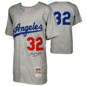 """Sandy Koufax Los Angeles Dodgers Fanatics Authentic Autographed Mitchell and Ness 1963 Gray Authentic Jersey with """"HOF 72"""" Inscription"""