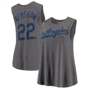 Clayton Kershaw Los Angeles Dodgers Majestic Threads Women's Flair Blouse Player Name & Number Tank Top – Gray