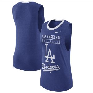 Los Angeles Dodgers Nike Women's Cooperstown Collection 1.7 Tri-Blend Tank Top – Heathered Royal