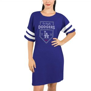 Los Angeles Dodgers Majestic Threads Women's Tri-Blend Short Sleeve T-Shirt Dress – Royal