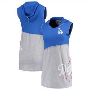 Los Angeles Dodgers Refried Apparel Women's Hoodie V-Neck Sleeveless Mini Dress – Royal/Gray