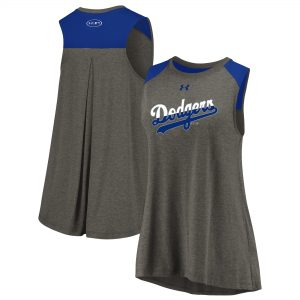 Los Angeles Dodgers Under Armour Women's Sleeveless Back Detail Tank Top – Gray/Royal